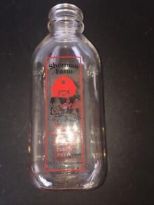 PYRO Sherman Farm Milk Bottle - East Conway NH Quart Red Black lettering Quart