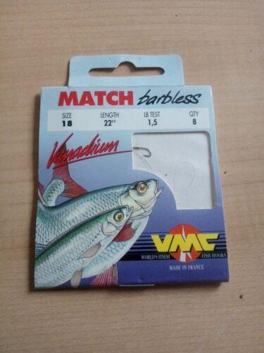 "VMC Match Barbless Size 18 L22/"" Lbtest 1,5 Qty 8 Hooks To Nylon"