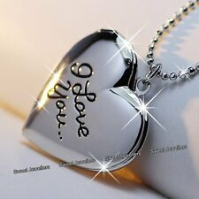 I Love You Silver Heart Locket Necklace Xmas Jewellery Gifts For Her Wife Women