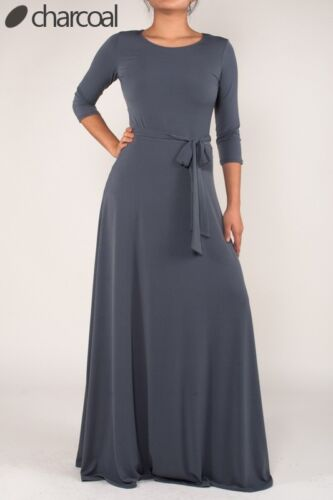 Janette Fashions Solid Charcoal Round Neck 3//4 Sleeves Skirt Maxi Dress S