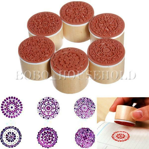 6pcs Round Wooden Assorted Retro Vintage Floral Pattern Rubber Stamp Scrapbook