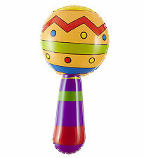 Inflatable Maraca With Jingle Bells Festival Party Mexican Fancy Dress Accessory
