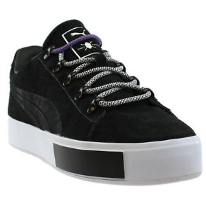 5be137897b9 Image is loading Puma-Daily-Paper-Court-Platform-Sneakers-Black-Mens