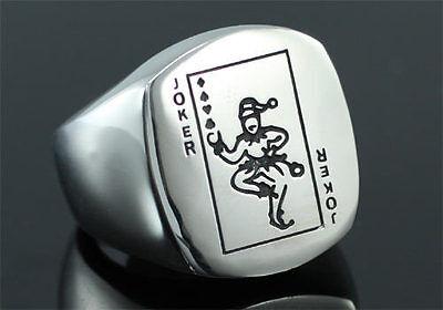 Poker Card Joker Stainless Steel Men Ring MR135