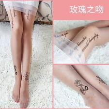 Party! Black Rose Kitten Tattoo Tight Nylon Pantyhose Stocking Gift, One Size