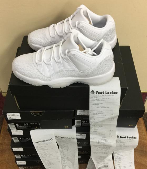 01d4e0f1bea Nike Air Jordan 11 Ret Low PR HC GG White-Pure Platinum 897331 100 AUTHENTIC