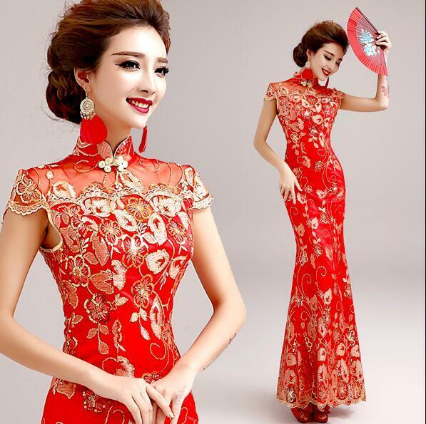 Womens Red Bride Wedding Embroidery Mermaid Cheongsam Slim Party Ball Gown Dress