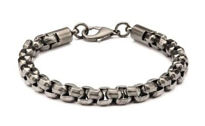 "Inox Jewelry Stainless Steel Gun Metal IP Round Box Chain Necklace 24/"""