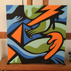 Details About Fire And Ice Hand Crafted Modern Abstract Pop Art Contemporary Acrylic Painting