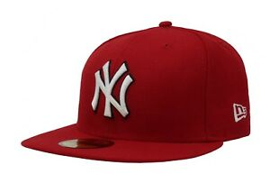 New-Era-Fitted-Cap-59Fifty-New-York-Yankees-Red-White-Black-Outline-Hat-Custom
