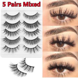 b2d9c6ad542 SKONHED 5 Pairs 3D Faux Mink Hair False Eyelashes Thick Cross Wispy ...