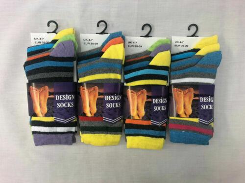 3,6/&12 Pairs Womens Ladies Designer Cotton Rich Socks UK 4-7 EU 35-39 Stripe Sox
