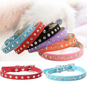 Ee-Kf-Ajustable-Gato-Mascota-Perro-con-Tachas-Diamantes-Hebilla-Collar-Piel