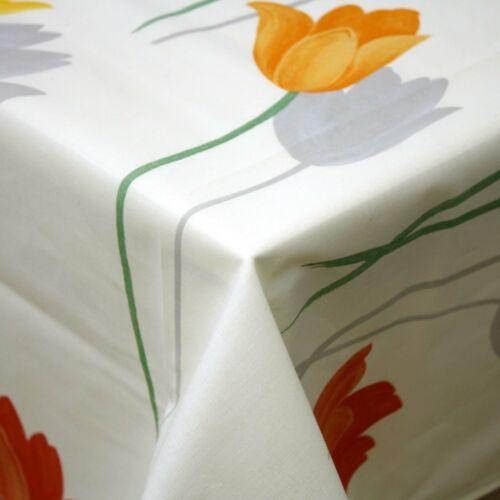 Outdoor Tischdecke 130x170 cm Tulpen Creme Wasserabweisend Schmutzabweisend