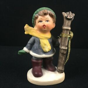 """VTg Figurine 3 3/4"""" Napcoware Boy Holding a Pair of Skies C7653 Made in Japan"""