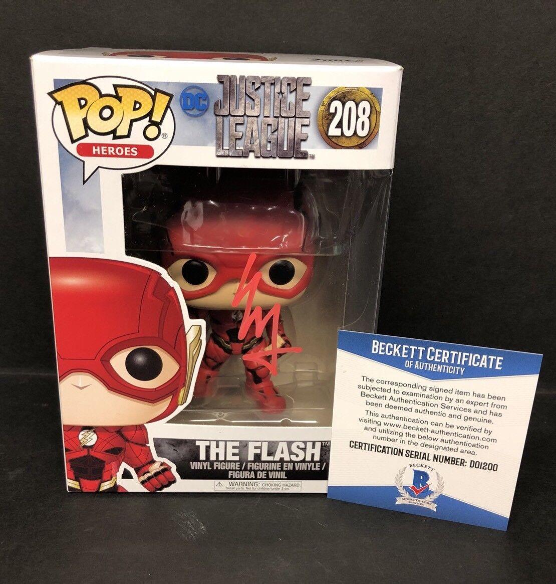 Ezra Miller Signed Justice League Flash Funko POP Marvel Bobble-Head Figure BAS
