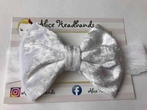 New Born Baby Headband Soft Stocking Band Big Velvet Bow Kids Christening Lot