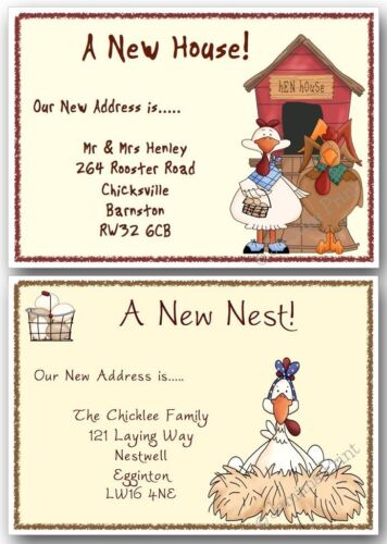 New address cards chicken//hen Personalised Change of Address House Moving