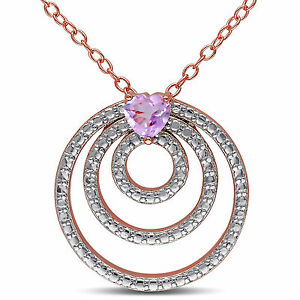 Rose-Pink-Silver-Heart-cut-Rose-de-France-Circle-Pendant-Necklace