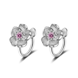 925-Sterling-Silver-Zircon-Cherry-Blossoms-Clip-On-Earring-No-Ear-Hole-Piercing