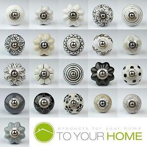 Black White Silver Grey Ceramic Door Knobs Handles Furniture Drawer ...