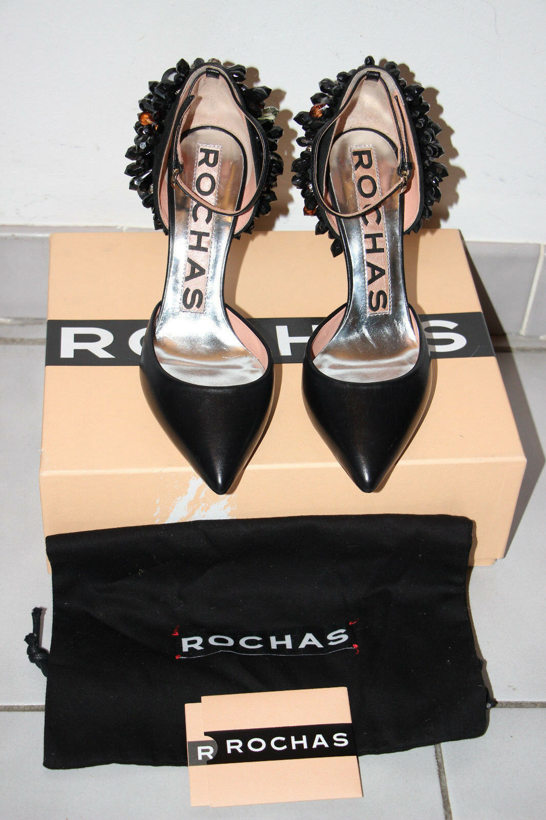 Rochas Black Crystal Embellished 'Shakes While Moving' Heels sz sz sz 6   IT 36  1985 d3417d