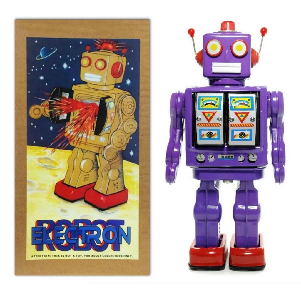 Scatola di Latta Giocattolo Electron per Robot 12   púrpura con platao Porte