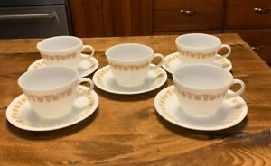 Set of 5 Butterfly Gold Pyrex Cups and Corelle Saucers - Excellent Condition