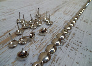 Upholstery-Nails-Furniture-Studs-Tacks-Pins-9-5mm-Chrome-1-Mt-Strip