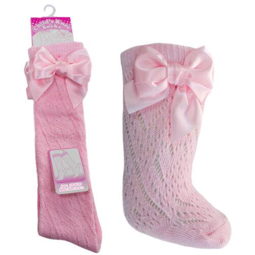 Baby Girl Pink Pelerine Ribbon Knee High Socks Traditional Spanish Romany Bow