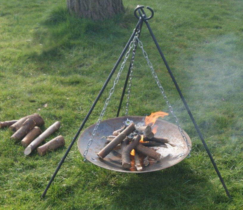 Pro BUSHCRAFT   CAMPING -  Campfire Tripod & Fire Disc Set - Heavy Duty  buy 100% authentic quality