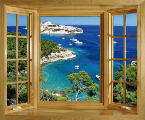 Sticker trompe l/'oeil fenêtre Les Calanques 85x70cm 228
