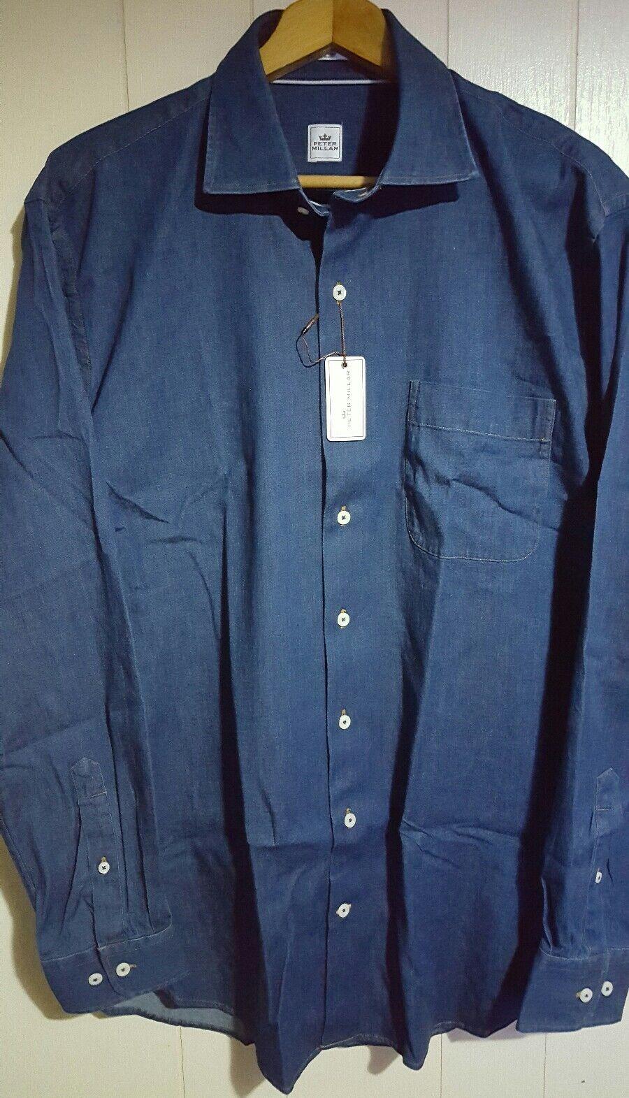 Peter Millar Long Sleeve Button Denim Shirt Mens Large NWT