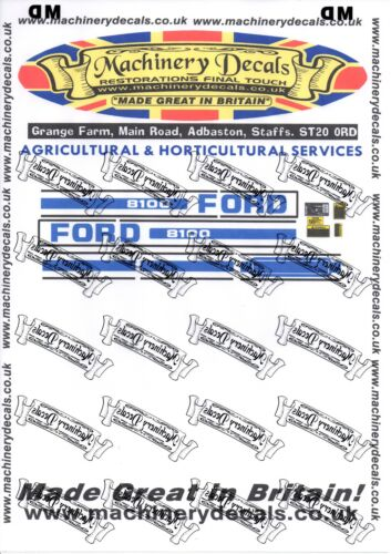 FORD 8100 DECALS BONNET