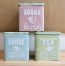 Vintage Style Sunny Days Set of 3 tins - Tea Coffee and Sugar Caddies -