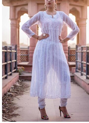 New Indian Ethnic Wear Chikankaari Kurti Women Kameez Pakistani Kurta Anaarkali