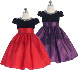 Posh-Holiday-Flower-Girl-Pageant-Dress-Red-or-Purple-Crayon-Kids-USA-332