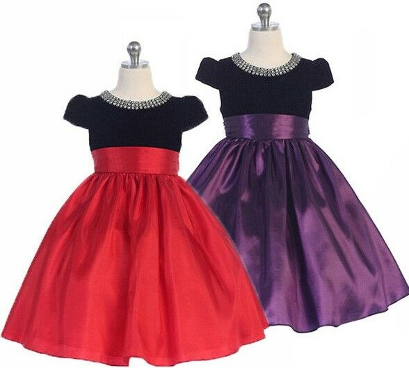 Posh Holiday Flower Girl Pageant Dress, Red or Purple, Crayon Kids USA 332