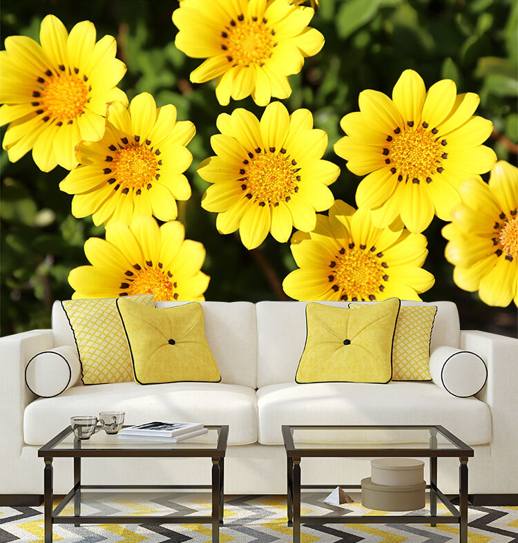 3D Yellow nice flowers Wall Paper Wall Print Decal Wall Deco Indoor wall Murals