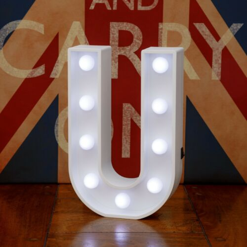 Light Up Letter U White Marquee Letters 23cm LED Wooden Letter Lights Sign A-Z