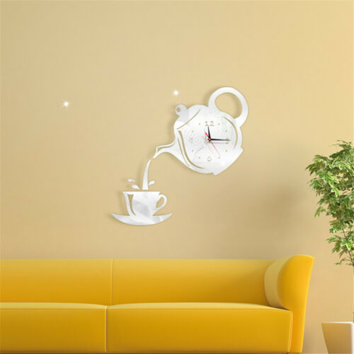 Room Hanging Home Decor Coffee Cup Mirror Clock Decal Teapot Wall Sticker