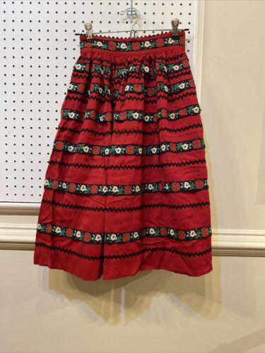 Lanz Original Vintage 60s Ric Rac Red Skirt
