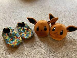 Lot Pokemon Charmander House Slippers Size M and Pikachu Mix