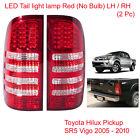 LED Tail Light Lamp Red Clear LH RH 2 Pc For Toyota Hilux Vigo SR5 2005 - 2014