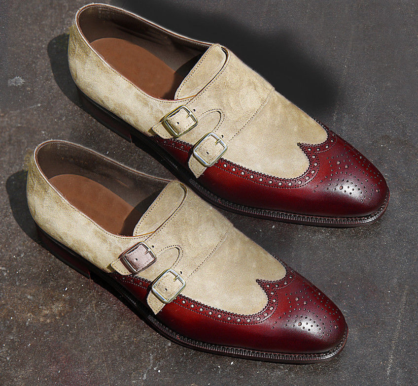 MEN NEW HANDMADE LEATHER SHOES BEIGE/BURGUNDY TWO MONK TWO BEIGE/BURGUNDY TONE BUCKLE FORMAL SHOES 197dbb