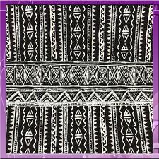 "100% RAYON CHALLIS AFRICAN BINTU PRINT 58"" WIDE FABRI BLACK / WHITE SOLD BTY"