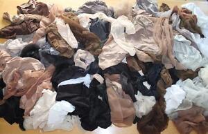 57 Pr Lot Nylons Pantyhose Sheer Stockings Some Used Craft Supplies Plus Size