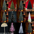 4ft 5ft 6ft 7ft BLACK WHITE GREEN LED FIBRE OPTIC CHRISTMAS TREE XMAS FESTIVE