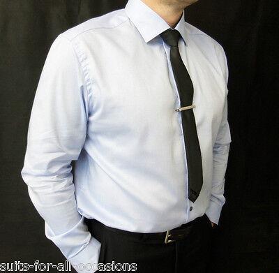 Clever Men's Ex Famous Store Autograph Sky Blue Shirts 100% Cotton, Single Cuff Schnelle Farbe