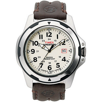 Timex Expedition Men's   Shock Resistant Silver-Tone Case Leather Strap   T49261